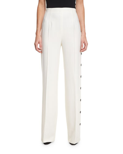 Trufo Side-Button Wide-Leg Pants, Off White