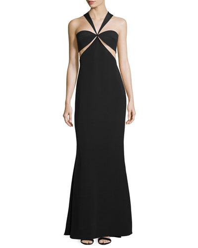 Eva Halter-Neck Bandeau Gown W/Cutouts, Black