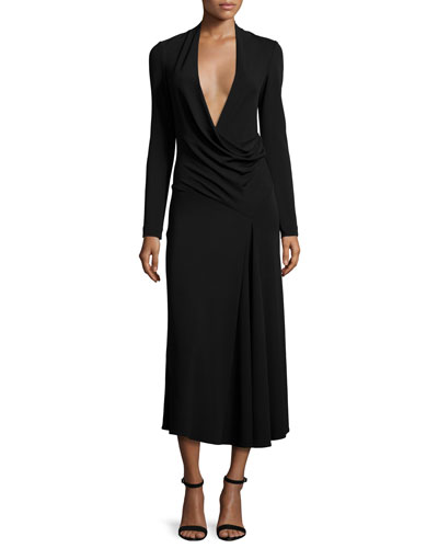 Long-Sleeve Draped-Front Midi Dress, Black