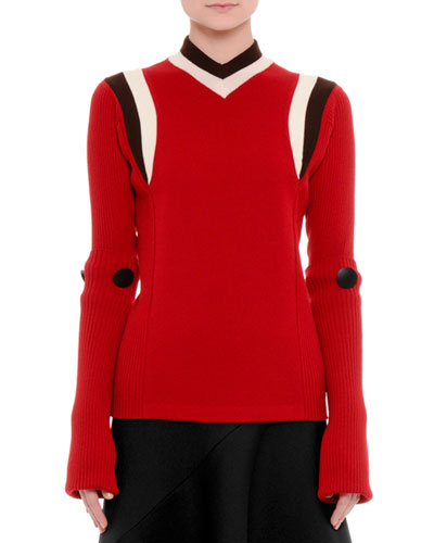 Extended-Sleeve Striped-Trim Sweater, Raspberry/Brown