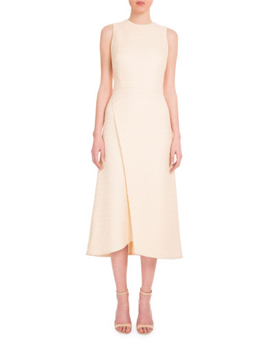Sleeveless Faux-Wrap Textured Dress, Cream