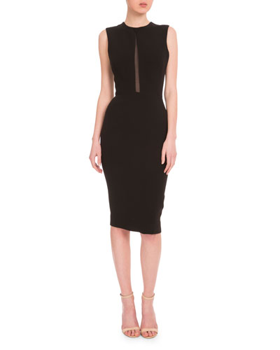 Sleeveless Mesh-Inset Sheath Dress, Black
