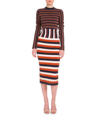 Long-Sleeve Mixed-Stripe Sheath Dress, Multi Colors