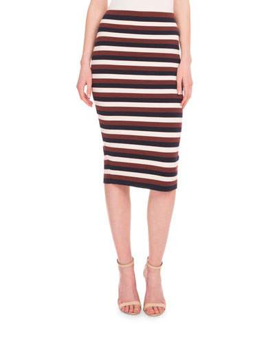 High-Waist Striped Pencil Skirt, Multi Colors