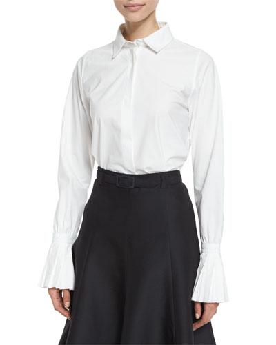 Plisse-Cuff Button-Front Blouse, White