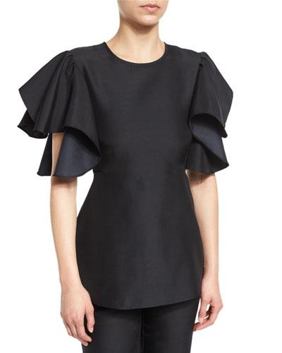 Ruffled Short-Sleeve Peplum Blouse, Black