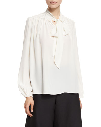 Pleated Tie-Neck Blouse, Ivory