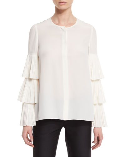Tiered Plisse Sleeve Blouse, Ivory