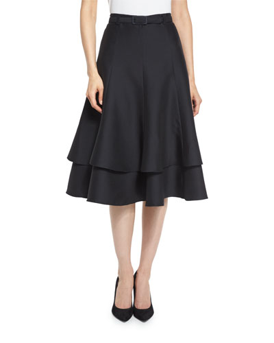 Belted Layered A-Line Skirt, Black