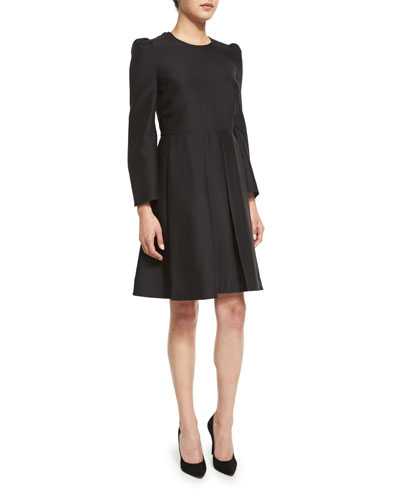 Box-Pleat Long-Sleeve Dress, Black