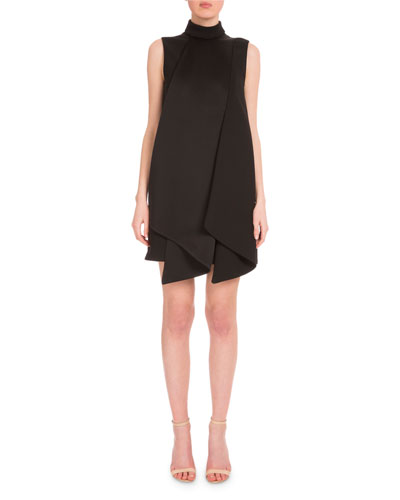 Sleeveless Mock-Neck Folded Shift Dress, Black