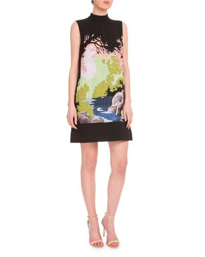 Mock-Neck Embroidered Landscape Dress, Black/Multi