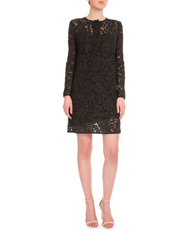 Long-Sleeve Embroidered Shift Dress, Black