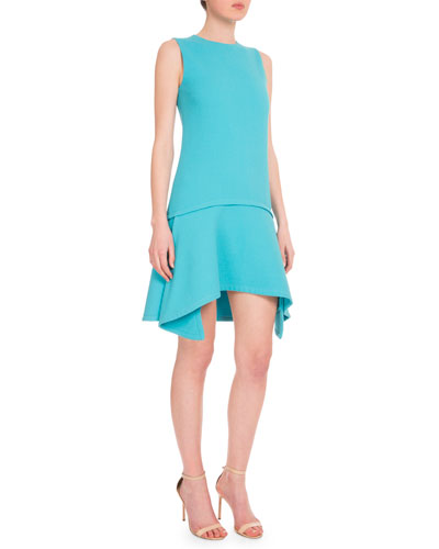 Sleeveless Draped-Hem Shift Dress, Ice Blue