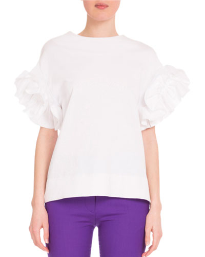 Ruffle-Sleeve Round-Neck Top, White