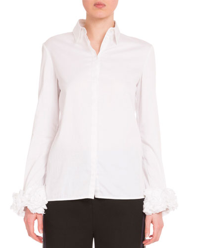 Long-Sleeve Ruffle-Cuff Blouse, White