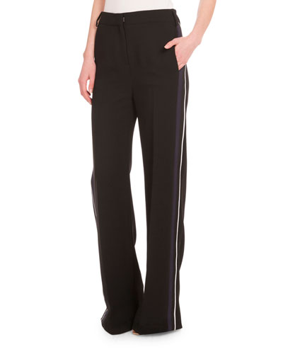 High-Waist Relaxed-Fit Tuxedo Pants, Black