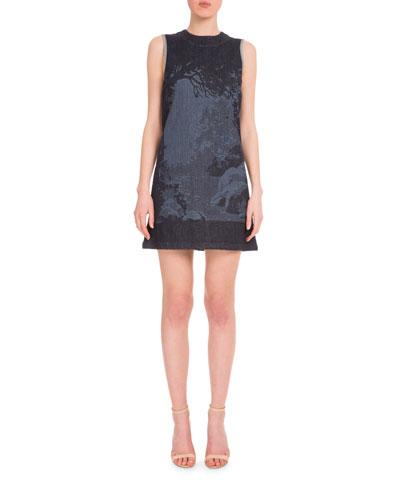 Sleeveless Landscape Mini Shift Dress, Black/Multi
