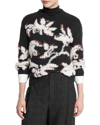 Piuma Floral Pullover Sweater, Onyx/Vanilla