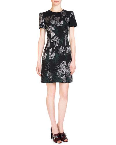 Aubrey Metallic-Embroidered Dress, Black/Silver