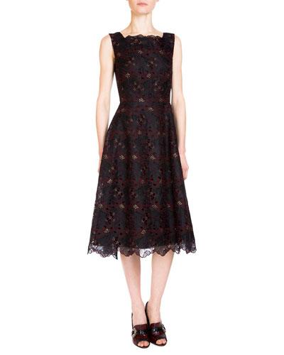 Mara Sleeveless Floral-Embroidered Dress, Black/Burgundy