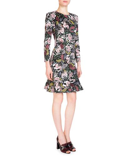 Judy 3/4-Sleeve Floral-Print Dress, Pink/Black