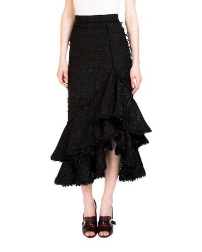 Cerena High-Waist Ruffle-Hem Skirt, Black