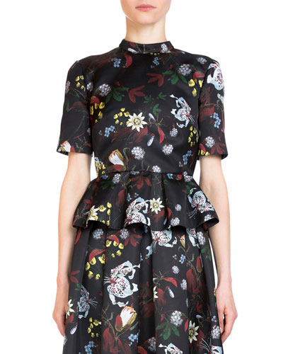 Isadora Short-Sleeve Floral-Print Peplum Blouse, Black/Multi