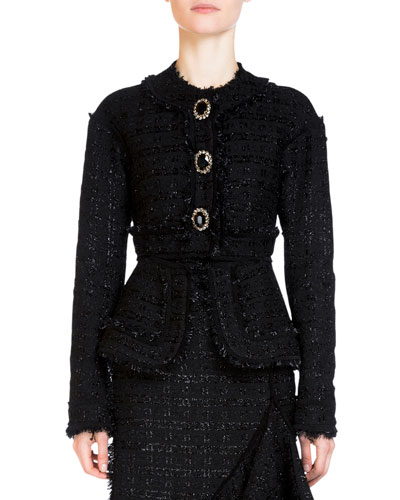 Karina Button-Front Peplum Jacket, Black
