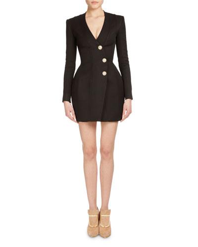 Asymmetric Button-Front Mini Dress, Black