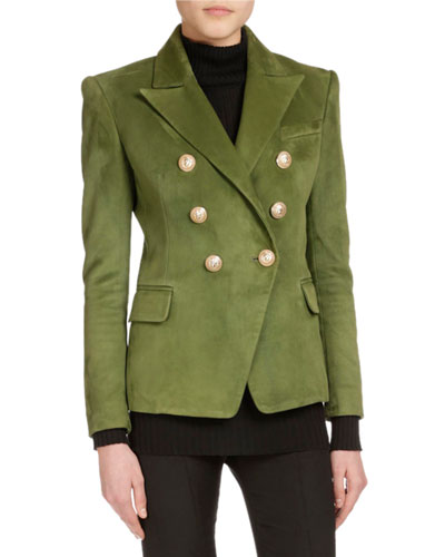 Classic Double-Breasted Suede Jacket, Olive