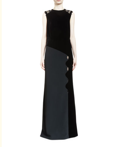 Melroy Wavy-Trim Sleeveless Keyhole Gown, Black