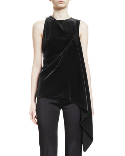 Colridge Sleeveless Asymmetric-Draped Top, Black