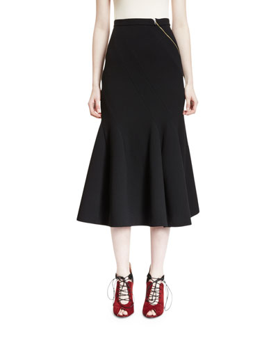 Riv Asymmetric-Zip Flounce-Hem Skirt, Black