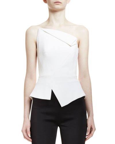 Leon Fold-Over Bustier Peplum Top, White