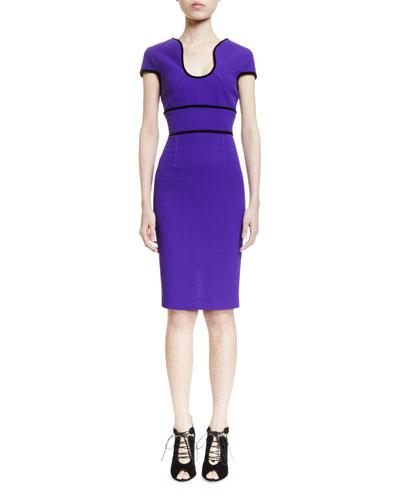 Marett U-Neck Sheath Dress, Purple