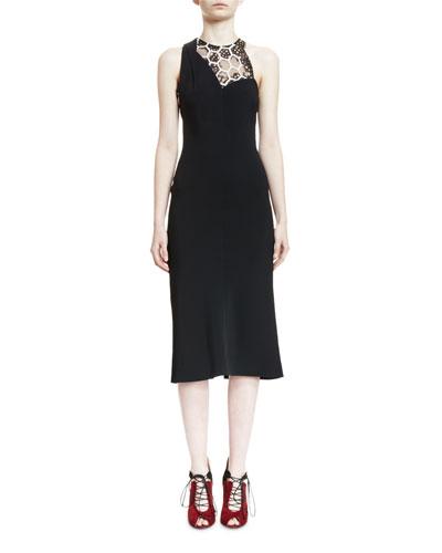 Betjem Sleeveless Dress W/Hexagon Inset, Black/White
