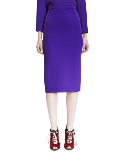 Reton High-Waist Pencil Skirt, Purple