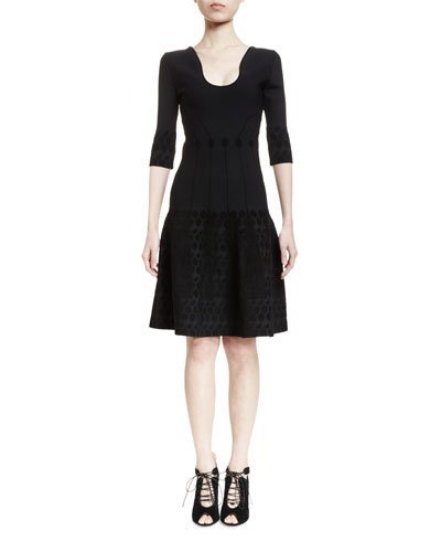 Crowne Half-Sleeve U-Neck Dress, Black