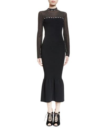 Ascher Swiss-Dot Flounce-Hem Dress, Black/Ecru