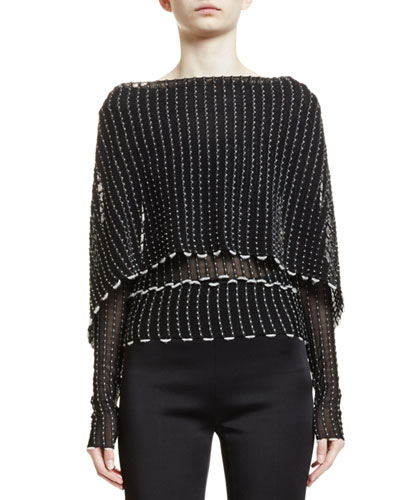 Charp Long-Sleeve Cape-Front Top, Black
