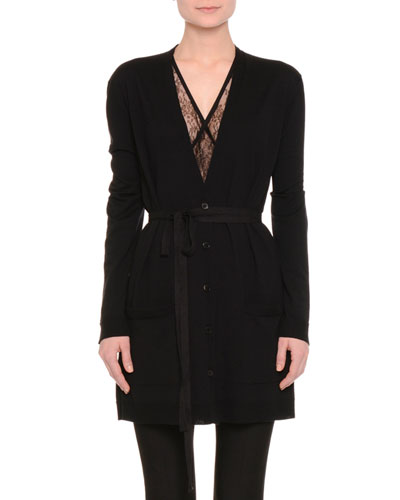 Long-Sleeve Lace-Inset Belted Cardigan, Black