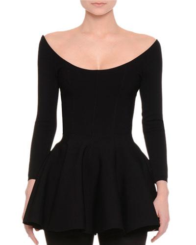 Long-Sleeve Flounce-Hem Top, Black