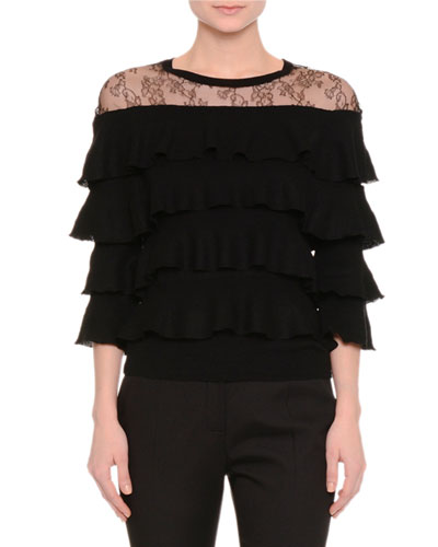 Tiered-Ruffle Top W/Lace Yoke, Black