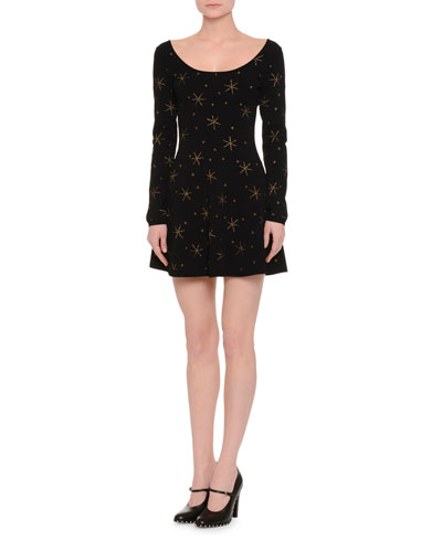 Gold Star Fit-&-Flare Dress, Black/Gold