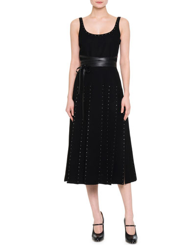 Scoop-Neck Crystal-Embellished Dress, Black