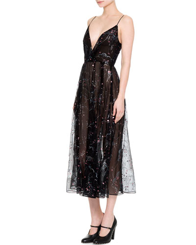 Embellished Glitter Clouds Midi Wrap Dress, Black