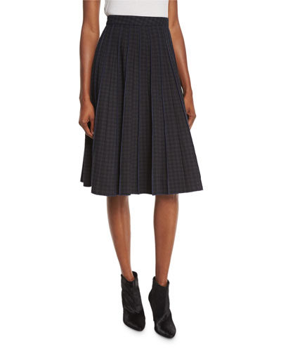 Pleated Gingham A-Line Skirt, Gingham