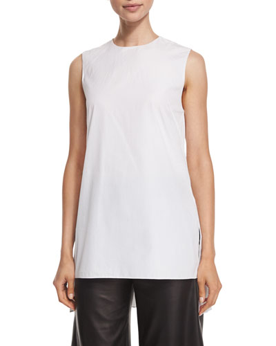 Pleated-Black Sleeveless Tunic, White
