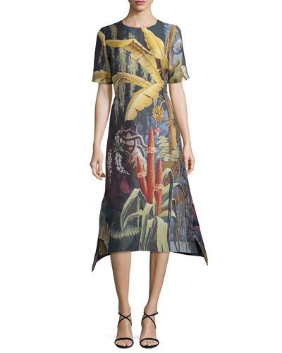 Eden Jacquard Short-Sleeve A-Line Dress, Multi